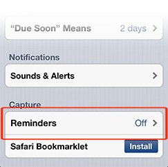 Go to Settings in OmniFocus to capture tasks from Reminders