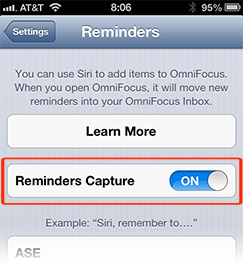 Setting Reminders Capture to On lets you add OmniFocus tasks with Siri