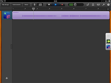 Your recorded audio shows up as its own track in GarageBand