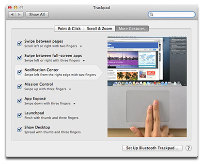 System Preferences includes videos showing how to use multitouch gestures
