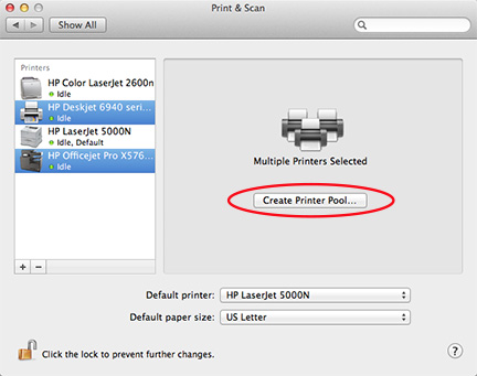 Selecting the printers you want to group together shows the Printer Pool option