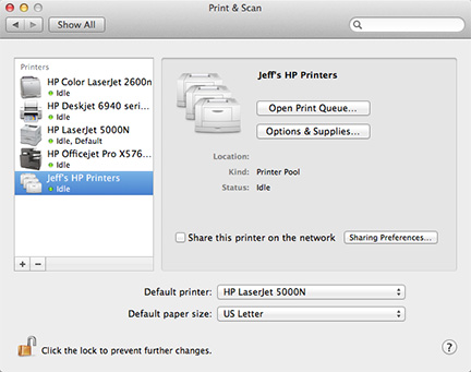 Your printer pool shows up just like any other printer, and you can share it, too