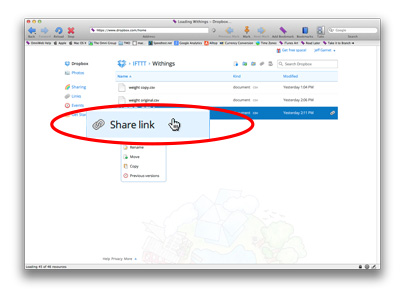 Use the Share link option in Dropbox to get your file's URL