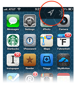 The status bar on your iPhone or menu bar on your Mac shows when Location Services is in use