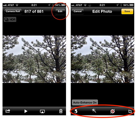 Tap the Edit button (left) to show the image adjustment tools (right)