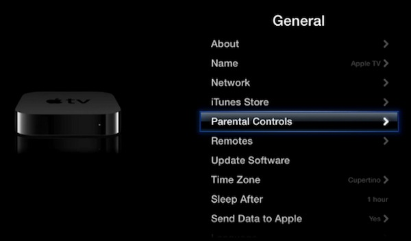 Apple TV Settings menu, highlighting Parental Controls