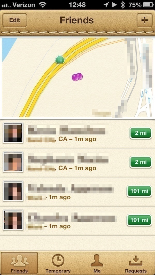 Apple's Find My Friends application showing the location of some of my family members