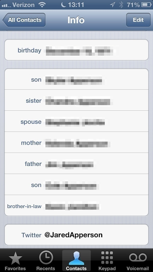 My personal contact card showing my family members based on relationship title