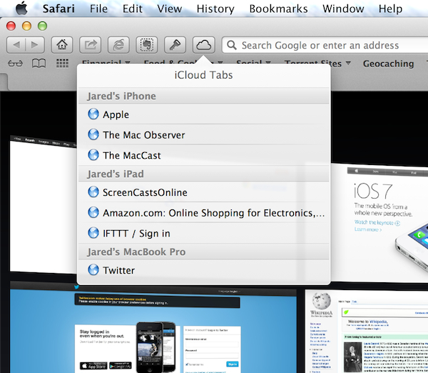 Safari on the Mac with iCloud Tabs open, showing a list of active browsing on an iOS device