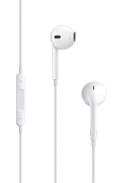Apple's earbuds include an inline remote (left)