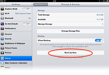 how to force icloud backup