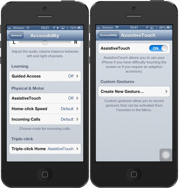 Accessibility settings menu showing options to activate Assistive Touch