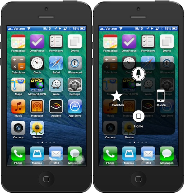 iPhone home screen with Assistive Touch icon and then activated