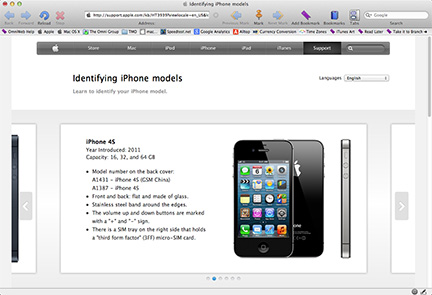Apple shows how to identify every iPhone model, including the iPhone 4S which has been replaced by the iPhone 4s