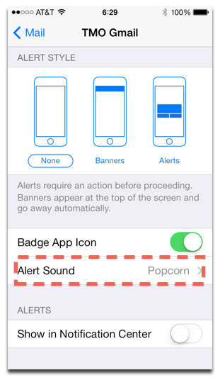 iOS 7 lets you set per-account email alert sounds, just like iOS 6