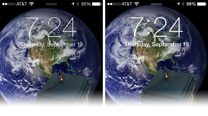 Standard text (left) isn't as easy to read as bold (right) in iOS 7