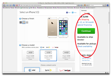 You can check for iPhone 5s in-store availability online