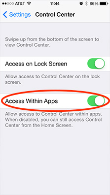 Disable Access Within Apps to stop Control Center from accidentally popping up