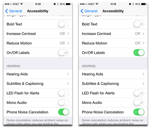 Without labels (right) iOS 7 you're missing out on a visual cue to tell when something is active (right)