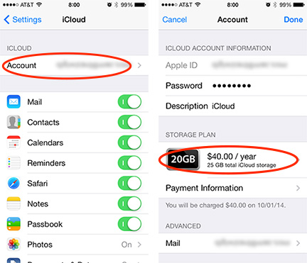 Choose your account from iCloud's settings, and then pick the storage plan you want