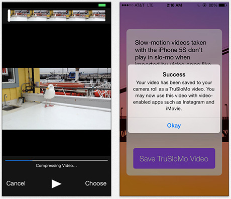 TruSloMo converts iPhone 5s slow motion videos so you don't loose the effect