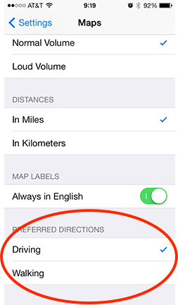 You can set your default navigation directions to either driving or walking