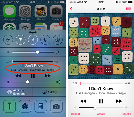Tap the song name in Control Center (left) to jump to the Music app (right)