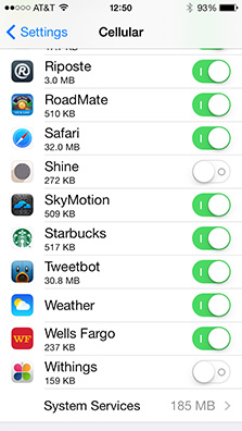 You can block specific apps from accessing data over your iPhone's cellular connection