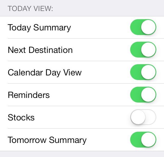 iOS 7: Hiding Stocks and Customizing Today View in Notification Center
