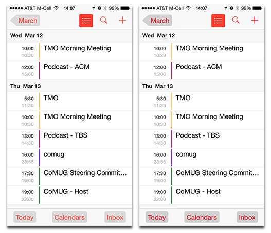 You can make iOS 7's normal button colors (left) darker in iOS 7.1 (right)
