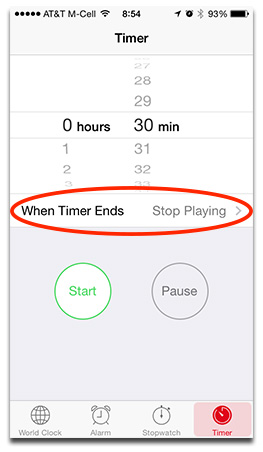 The Clock app lets you set a timer to stop playing music after you fall asleep