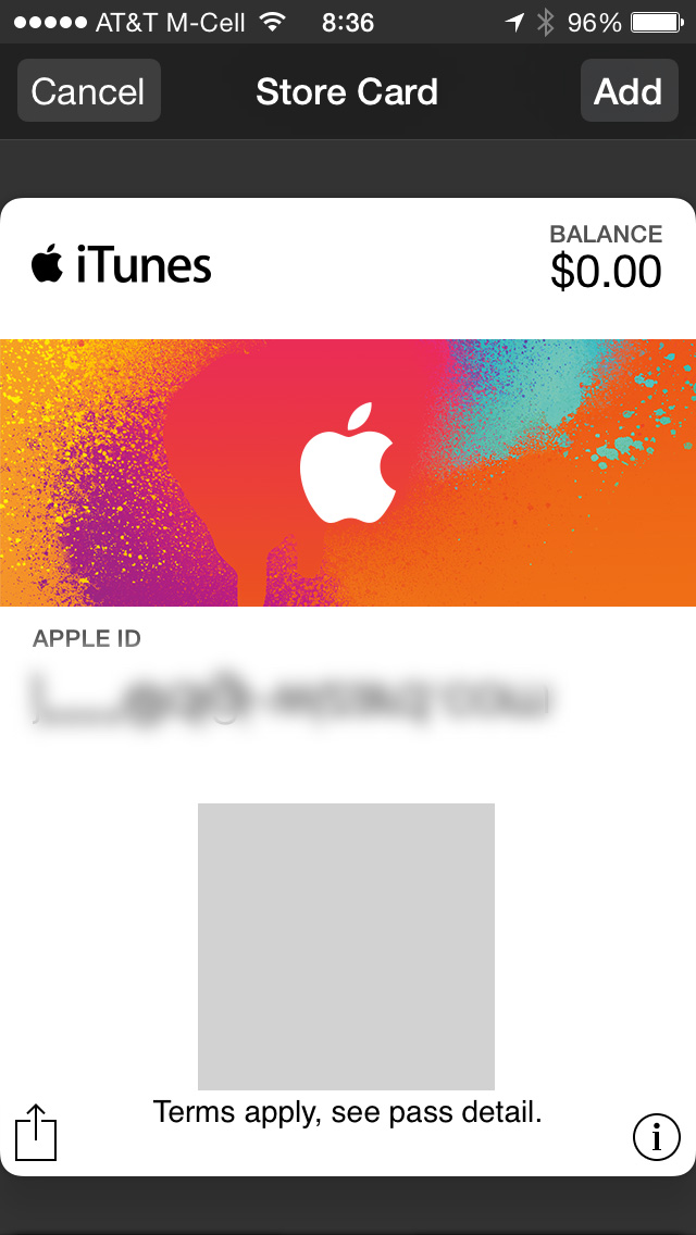 iTunes Pass gets its own card in Passbook