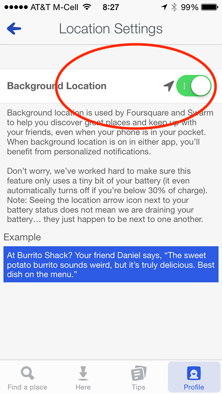 Foursquare's Background Location setting