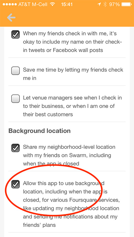 Swarm's Background location setting