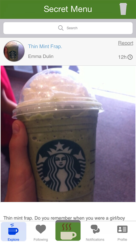 Secret Menu for Starbucks rolls drink recipes into a social network