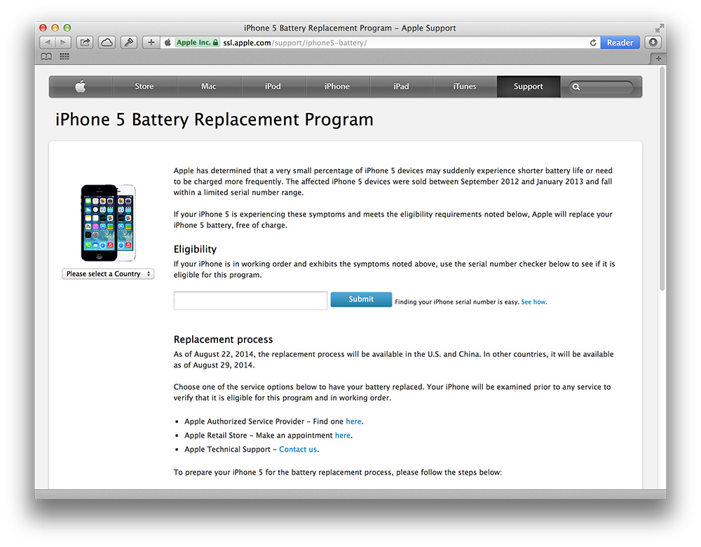 Apple is replacing some iPhone 5 batteries that don't hold a charge
