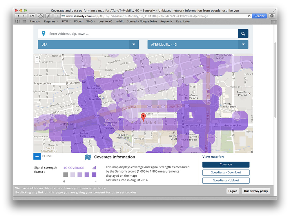 Sensorly shows realistic cell service coverage maps