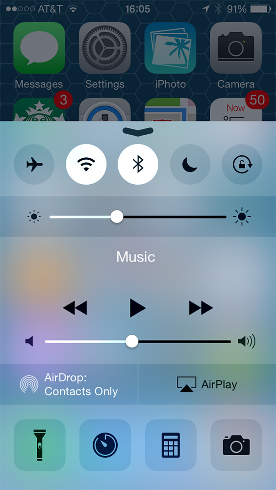 iOS 8's Control Center looks nearly identical to the iOS 7 version