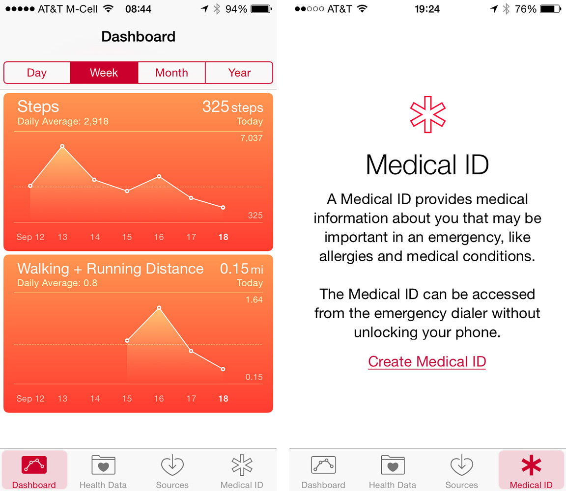The Health app groups fitness data from multiple sources