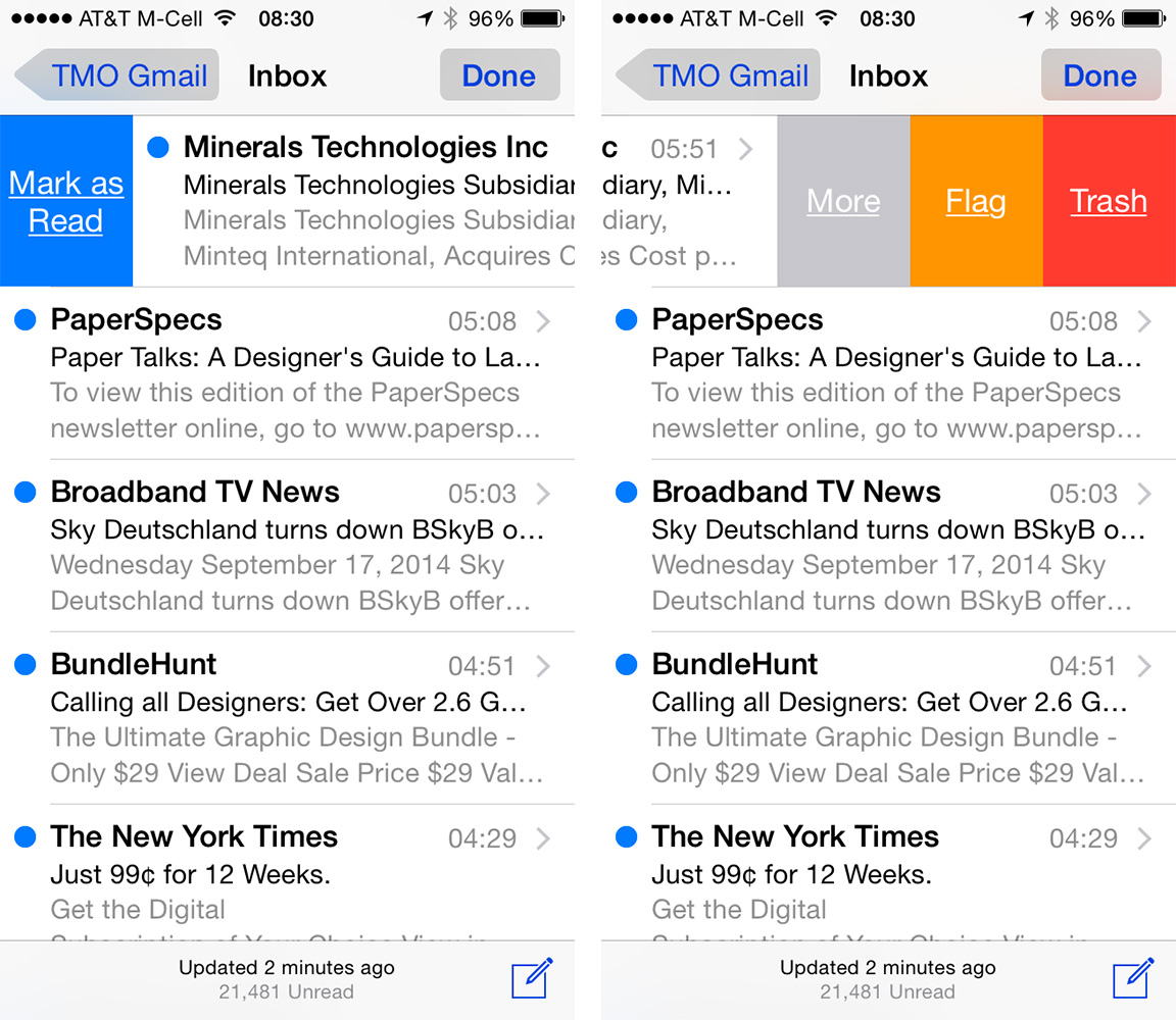 Mail adds new gestures for quickly flagging, deleting, or marking messages as read