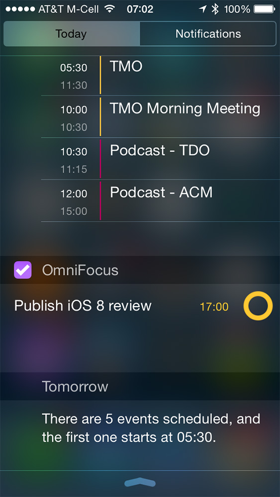 Extensions open up Notification Center to widgets, like this one for OmniFocus
