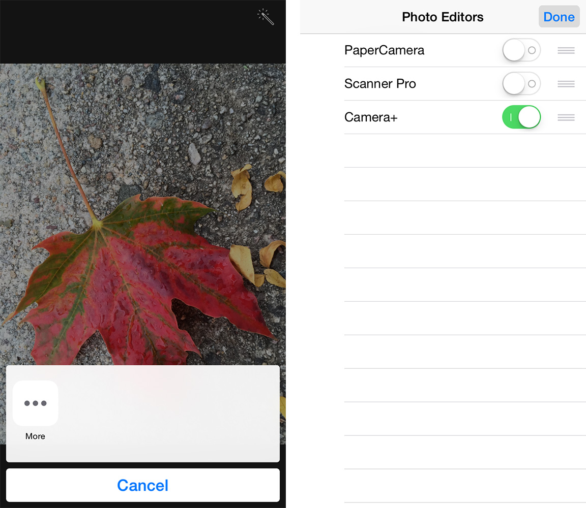 No third party filters showing up (left)? Tap the More button to add some (right).