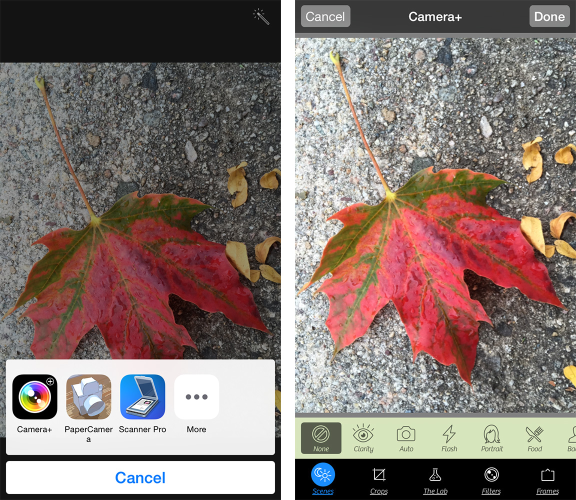 Tap an app (left) to use its filters in Photos (right)