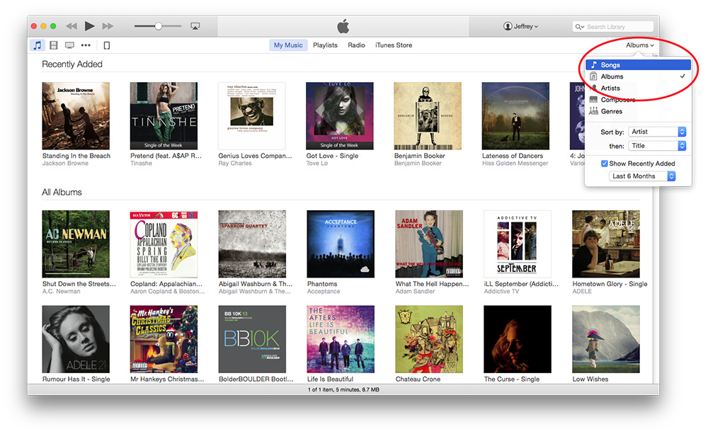 Use the Albums dropdown menu to switch to the song list view