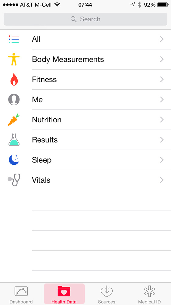 Use the Health Data tab so choose what you see in your Health Dashboard
