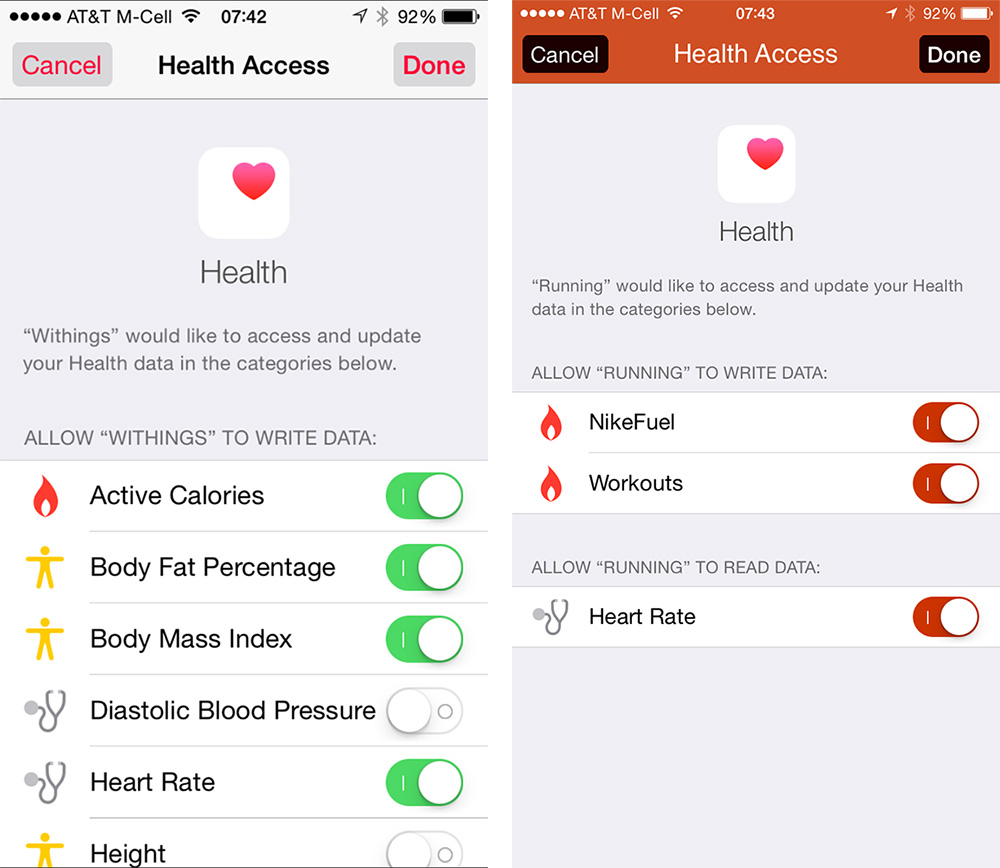 You can choose what data gets shared with Health from each app
