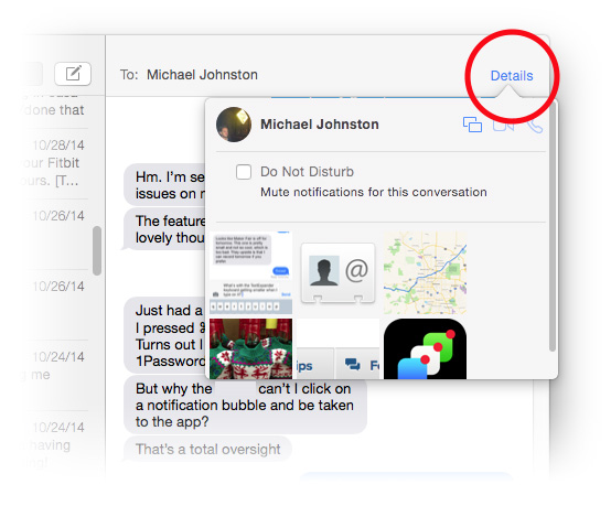 OS X Yosemite's Messages app shows all chat photos grouped together