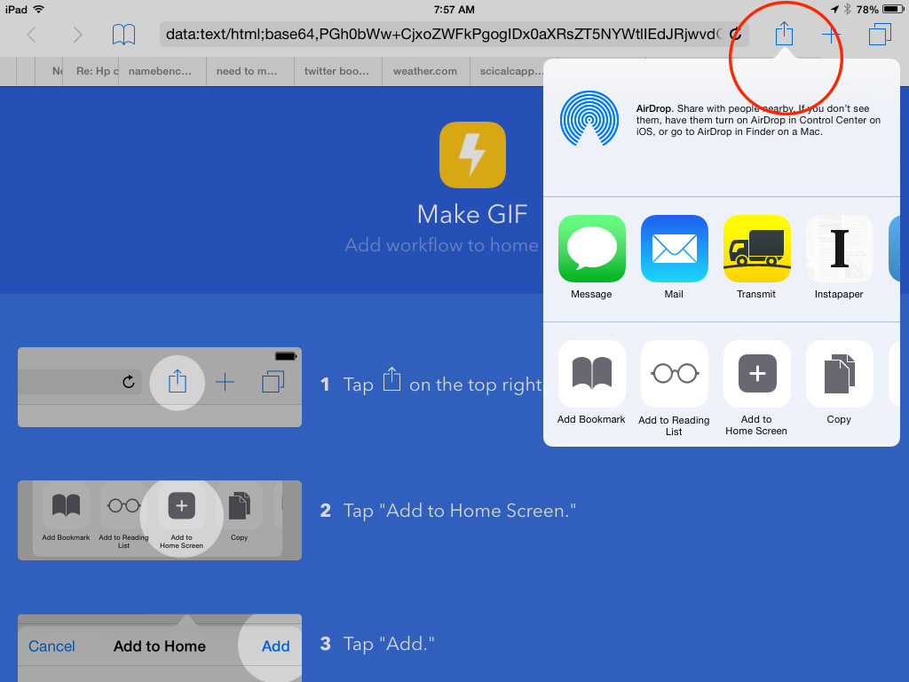 Tap Safari's Share icon to send your new app to your Home Screen