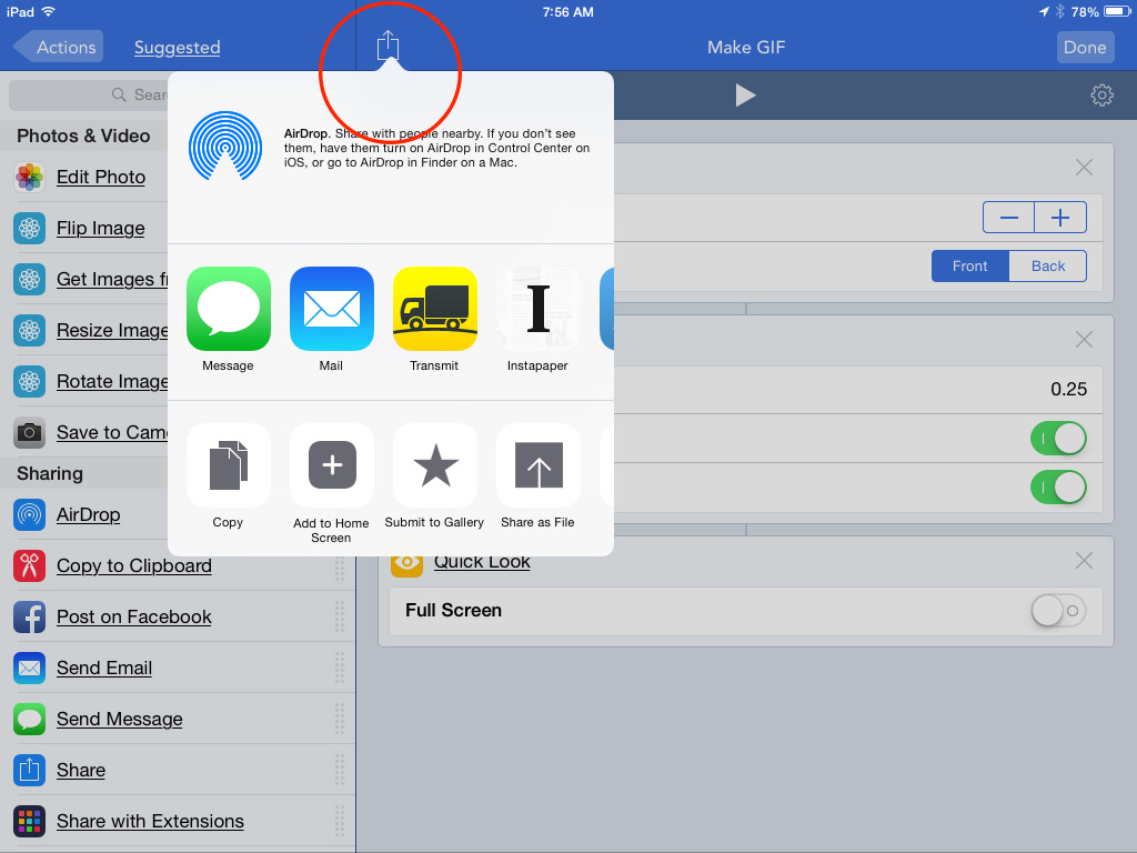 Tap the Share icon to turn your workflow into an app