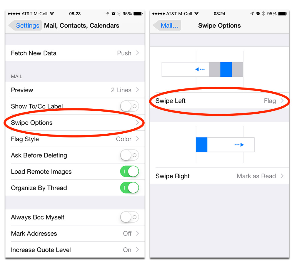iOS 8 lets you change the swipe gestures for Mail